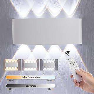 Anonry 16W Applique Murale Intérieur/Exterieur LED Avec Télécommande, 3000K-6000K Smart Appliques Murales Dimmable LED, Mo...