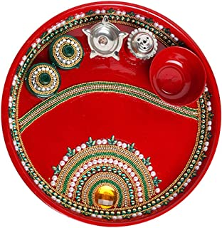 Handcrafted Red Pooja Thali, Decorative Stainless Steel Puja Thali with Essential Pooja Articles, for Aarti Pooja Rituals ...