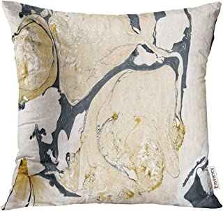 Golee Throw Pillow Cover Black Acrylic Gold Marble Ink Abstract Painting Beautiful Colorful Bronze Drop Decorative Pillow ...