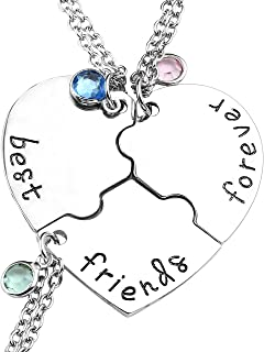 Silver Tone Alloy Rhinestone Best Friends Forever and Ever BFF Necklace Engraved Puzzle Friendship Pendant Necklaces Set(Set of 3)