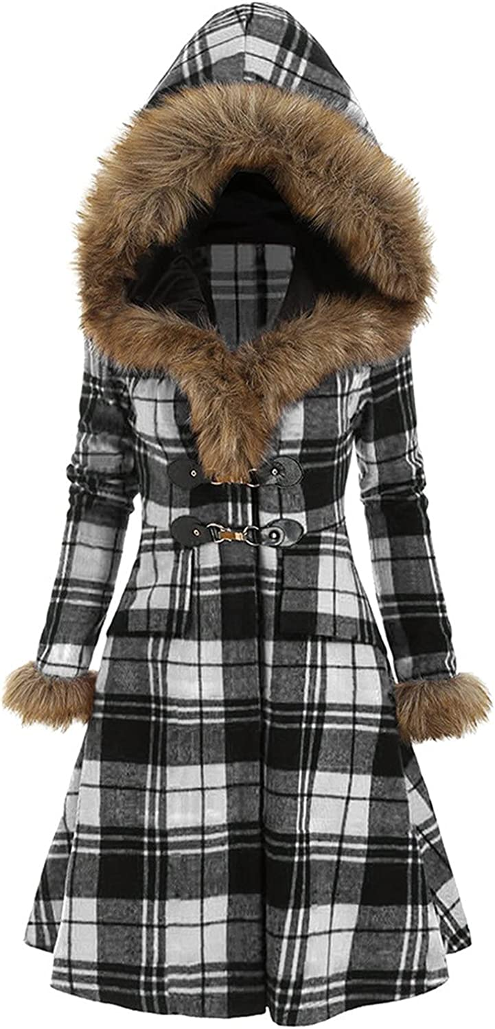 Women Hoodie Coat Plaid Printing Horn Button Down Winter Outwear Slim Double-Breasted midi Coat Fuzzy Fleece Hooded