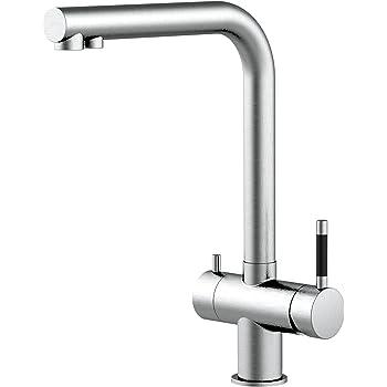 Grifo de cocina acero inoxidable 3 vias para sistemas de filtro / purificador de agua - doble conducto totalmente independiente el uno del otro: Amazon.es: Bricolaje y herramientas