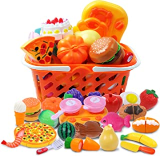 DigHeath 34pcs Pretend Play Food Set,Kitchen Cutting Toys,BPA Free Plastic Fruits & Vegetables for Kids with Realistic Basket,Knife and Chopping Board,Best Children Educational Play Set