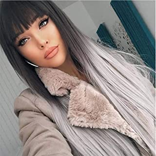 MSSQUEEN Silky Long Straight Wigs for Women Black to Grey Synthetic Wigs With Bangs High Temperature Natural Looking Costume Full Wigs