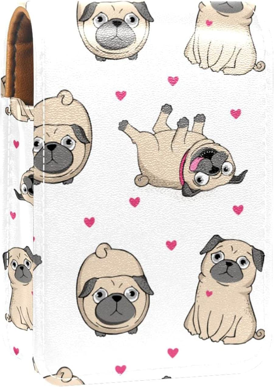 Funny Pug Puppy Dog Heart Pattern Gloss Ranking TOP19 Lip Safety and trust Case Lipstick Holder