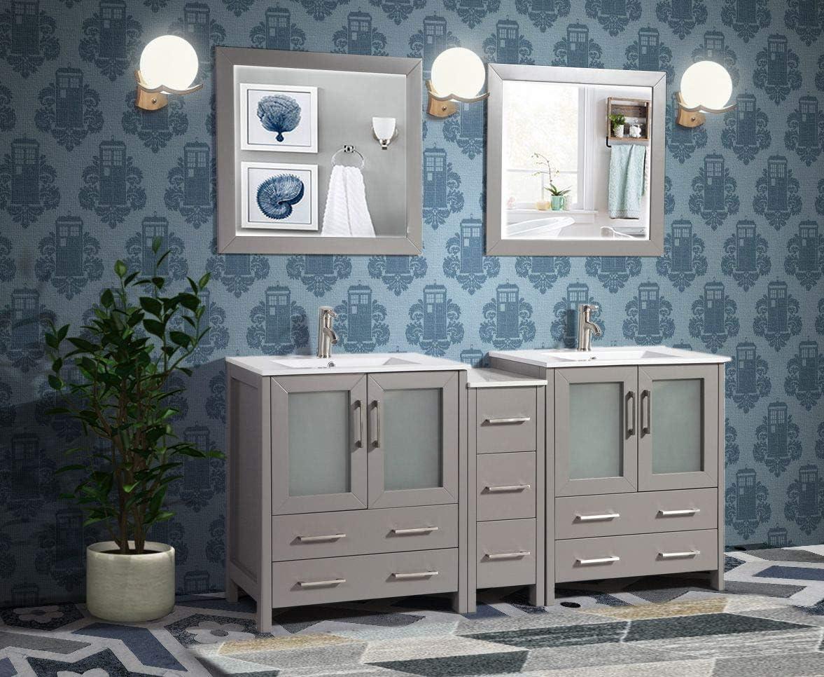 Buy Vanity Art 72 Inch Double Sink Modern Bathroom Vanity Combo Set 2 Shelves 7 Dove Tailed Drawers Ceramic Top Under Mount Sink Bathroom Cabinet With Two Free Mirror Va3030 72 G Online In Turkey B01jrl8yeq
