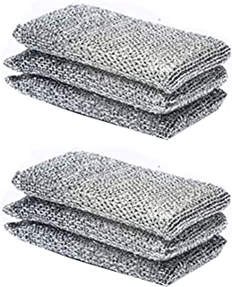 Scourer Pads Sponges, Non-Scratch Scouring Pads, Washing Up Sponge Pad, Stainless Steel Scourer Mesh Pad, Reusable Easy to...