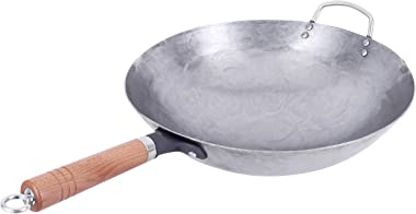 Wok Iron Wok Handmade Large Wok&Wooden Handle Non-stick Wok Kitchen Cookware (12.5Inch)