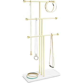 Umbra Trigem Hanging Organizer – 3 Tier Table Top Necklace Holder, Box Display with Jewelry Tray Base, Brass/White
