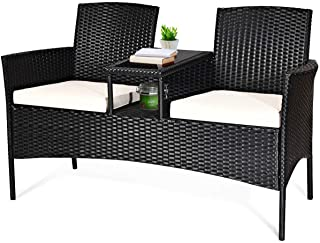 Tangkula Wicker Patio Conversation Furniture Set, Outdoor...