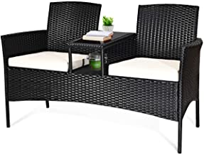 Tangkula Wicker Patio Conversation Furniture Set, Outdoor Furniture Set with Removable Cushions & Table, Tempered Glass To...