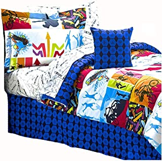 """Extreme Sports Skateboard BMX Comforter & Sheet Set Bed In A Bag (8pc QUEEN SIZE 86""""x 86"""")"""