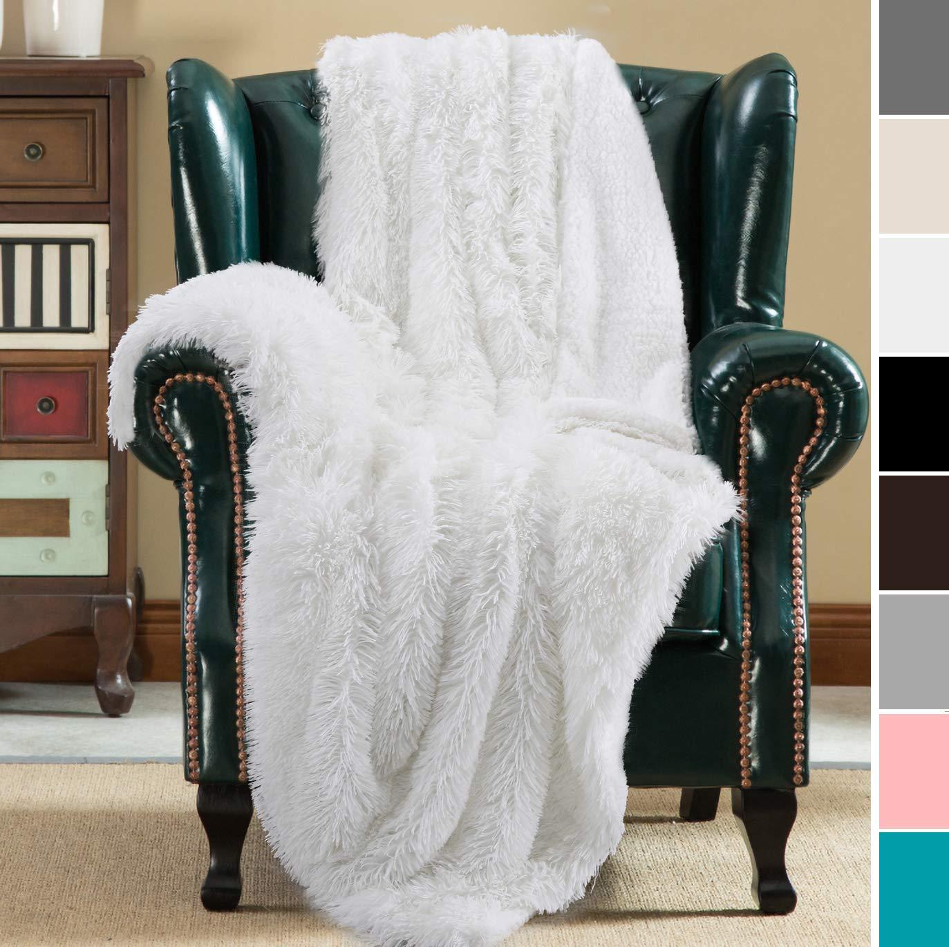 Super Soft Cozy Noahas Shaggy Longfur Throw Blanket with Sherpa Warm Underside