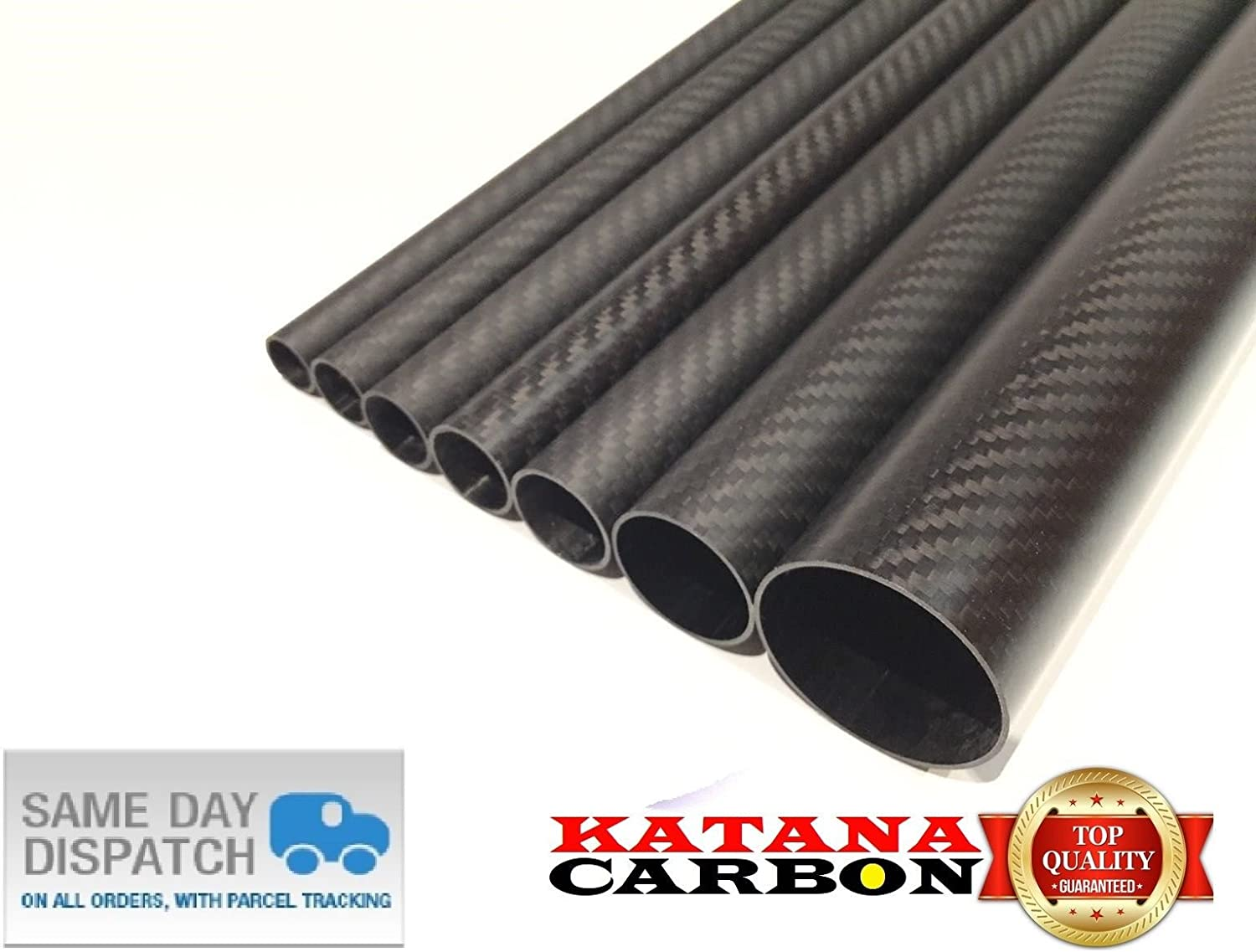 Matt 1x OD 40mm x ID 38mm x 1000mm (1 M) 3k Carbon Fiber Tube (Roll Wrapped) UK Stock