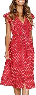 Women's Summer Boho Polka Dot Sleeveless V Neck Swing Midi Dress with Pockets