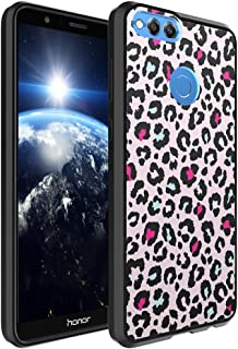 Huawei Honor 7X Case, Capsule-Case Hybrid Slim Hard Back Shield Case with Fused TPU Edge Bumper (Black) for Huawei Honor 7X - (Pink Leopard)