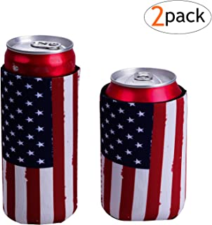Slim Can Coolers For Slim Can +Can Cooler Sleeves For Standard 12oz Can, Collapsible Neoprene Insulated Drink Cooler Coolies Cover holder Can Coozies USA Flag Perfectly (2 pack) (Crimson)