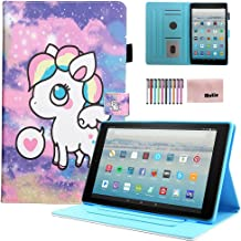 Motie Case for A mazon F ire HD 10 Tablet (7th Generation, 2017 Release) - Cute PU Leather Protective Cases and Covers for F ire HD 10.1 inch Tablet with Smart Auto Sleep/Wake Function, Cute Pony