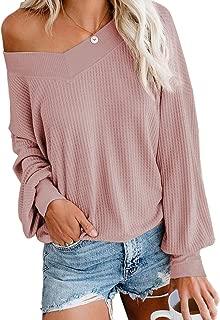 Aifer Women's V Neck Long Sleeve Waffle Knit Tops Off Shoulder Pullover Sweater