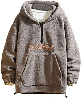 wuliLINL Faux Lamb Plush Sweatshirt for Men,Casual Winter Warm Long-Sleeved Solid Zipper Hoodies Pullover Coat