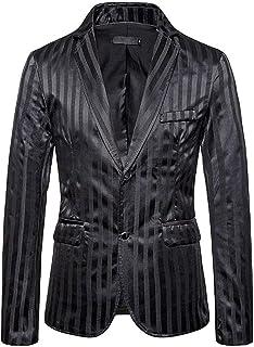 Men's Striped Two Buttons Dinner Coat Slim Fit Peak Lapel Suit Jacket Prom Party Tuxedos Blazer Spring Winter Wear