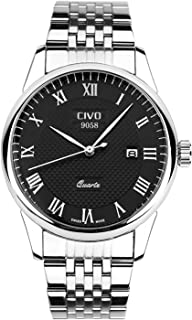 CIVO Mens Watches Waterproof Stainless Steel Watch Men Roman Numeral Date Calendar Simple Design Wrist Watches Casual Business Dress Fashion Classic Analogue Quartz Watches for Men