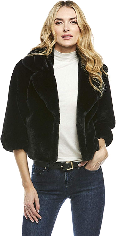 Black Faux Fur Evening Jacket