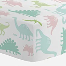 Carousel Designs Pale Pink and Mint Dinosaurs Crib Sheet - Organic 100% Cotton Fitted Crib Sheet - Made in The USA