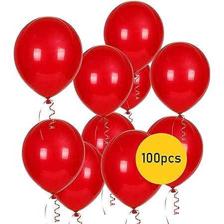 PARTY GO Palloncini Rossi, 100 Palloncini Rossi, 26cm, Palloncini Elio, per Festa, Palloncini per Compleanno, e Matrimonio.