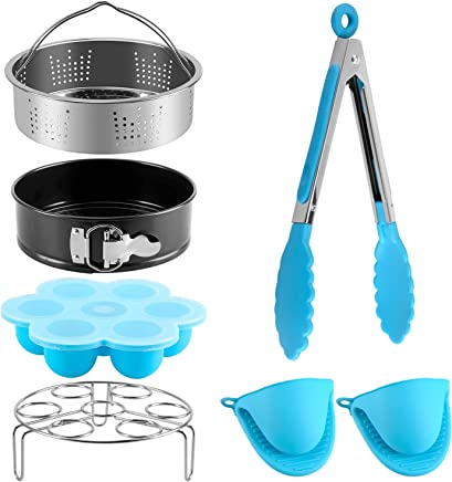 7-Piece Accessories Set Compatible with Instant Pot For 5 6 8Qt, Pressure Cooker Accessories with Steamer Basket,Non-stick Springform Pan, Silicone Egg Bites Molds, Egg steam trivet, Cooking Pot Mitts