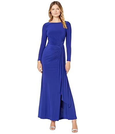 Vince Camuto Long Sleeve Gown with Drape Front (Cobalt) Women