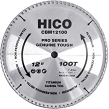 HICO 12-Inch 100-Tooth TCG Aluminum and Non-Ferrous Metal Saw Blade with 1-Inch Arbor,..
