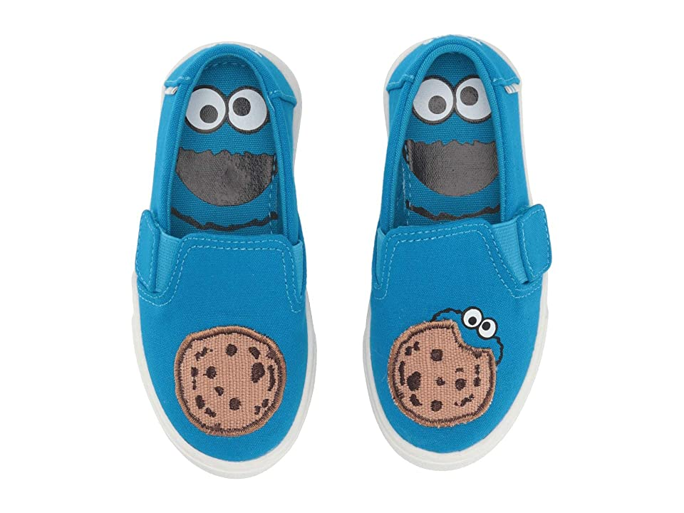 TOMS Kids Sesame Street Luca (Toddler/Little Kid) (Blue Cookie Monster Aplique Canvas) Kid