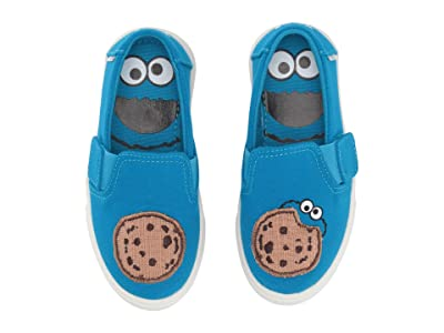 TOMS Kids Sesame Street Luca (Toddler/Little Kid) (Blue Cookie Monster Aplique Canvas) Kid