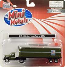 1941-1946 Chevrolet Tractor Trailer Truck U.S. Mail Army Green 1/87 (HO) Scale Model by Classic Metal Works 31175
