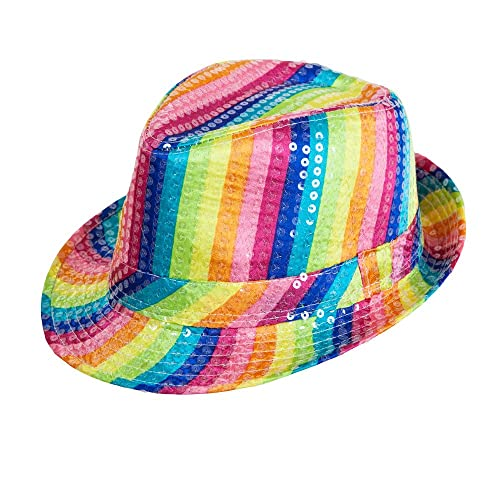 Rainbow Sequin Fedora Hat for 60s 70s 90s Rave Fancy Dress Cosplay Outfit e05f6244b602