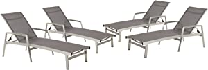 Christopher Knight Home 305163 Joy Outdoor Mesh and Aluminum Chaise Lounge (Set of 4), Gray