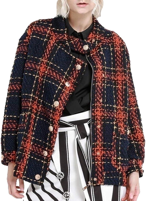 PujinggeCA Women's Vintage Stylish Tweed Coat Short Coat Long Sleeve Check Jacket