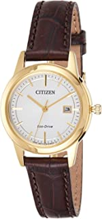 Citizen Women White Dial Leather Band Watch - FE1083-02a