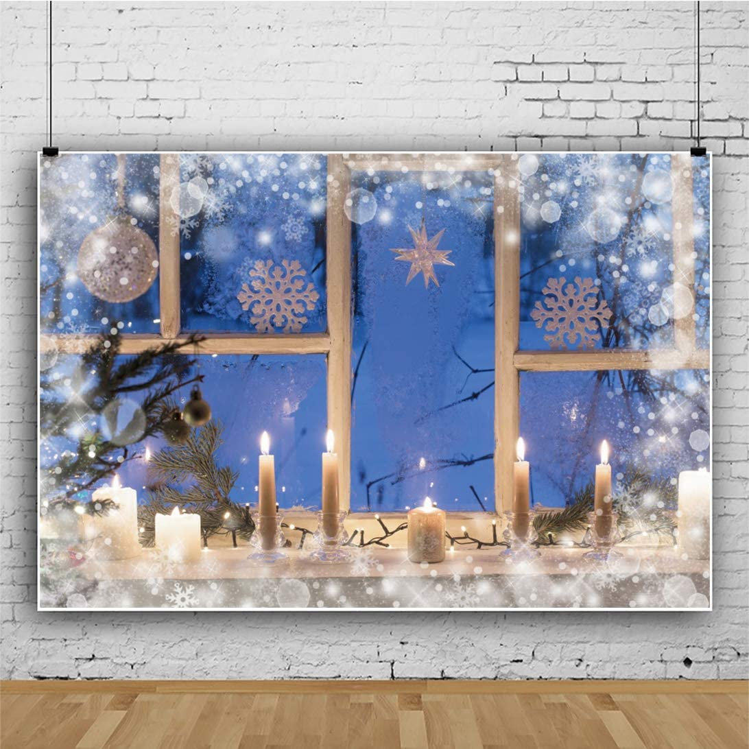 CSFOTO 14x10ft Merry Christmas Backdrop Window View Winter Night Burning Candles Christmas Eve Background for Photography New Year Decor Banner Christmas Photo Backdrop
