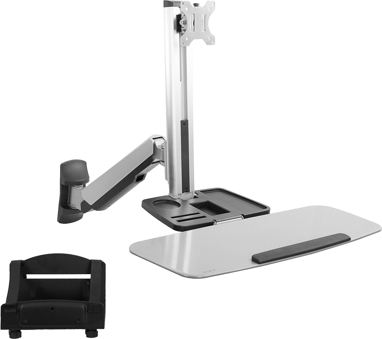 VIVO Single Monitor and Keyboard Counterbalance Sit-Stand Wall Mount, Ergonomic Standing Transition Workstation STAND-SIT1W
