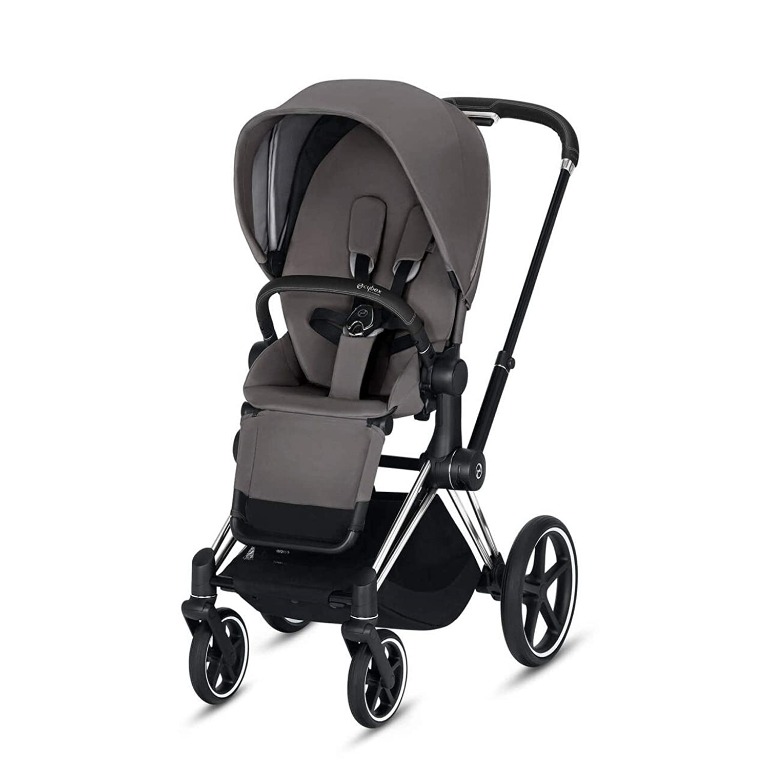 Cybex Priam 3 Complete Stroller, One-Hand Compact Fold, Reversible Seat, Smooth Ride All-Wheel Suspension, Extra Storage, Adjustable Leg Rest, Manhattan Grey with Chrome/Black Frame