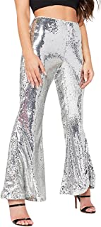MS Mouse Womens Glitter Sequin High Waisted Stretchy Bell...
