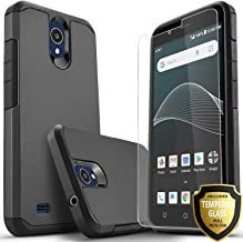 AT&T Axia Case Included [Tempered Glass Screen Protector], Star Absorption Drop Protection Dual Layers Impact Advanced Rugged Protective Phone Cover-Black