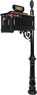 The Emerson Black Mailbox with Address Plaque, Flag, and Numbers Included. Complete Luxury Mailbox and Post Combo Kit with Beautiful, Unique, Classic, Traditional, Decorative Features.