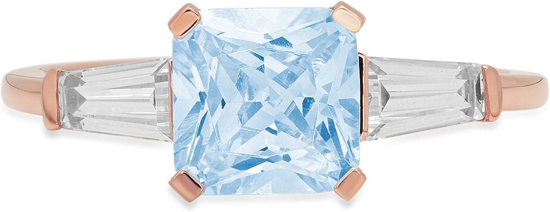 1.59ct Square Emerald Baguette cut 3 stone Solitaire Natural Sky Blue Topaz Gem Stone VVS1 Designer Modern Statement Ring Solid 14k Rose Gold Clara Pucci