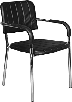 Rakkahf Enterprises Strong Office Desk Chair, Meeting Chair, Visitor Chair with Medium Back Foam Pad and Robust Steel Base (Black)