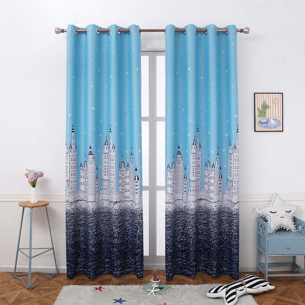 Autumn Dream Sky Blue Kids Blackout Drapes Cast Super sale Panels Curtains Popular standard