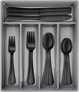 Hiware Black Silverware Set with Tray, 20-Piece Stainless Steel Flatware Cutlery Set Service for 4, Mirror Finish, Dishwas...