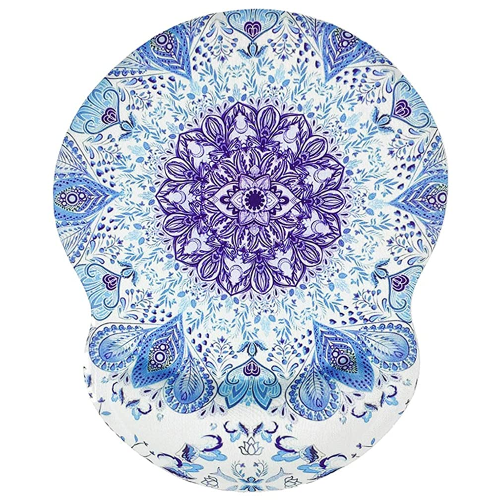 BOSOBO Mouse Pad with Gel Wrist Support, Ergonomic Non-Slip Wrist Rest Mouse Mat Cute Mandala Mousepad for Girls, Women, Office, Home, Computers and Laptops, Easy Typing & Pain Relief, Blue Mandala